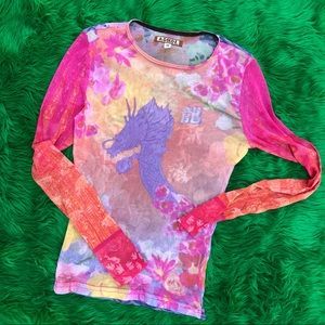 Vintage 90's semi shear top with dragon